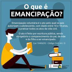 Você sabe o que é emancipação? Leis, Law And Order, School Hacks, Study Notes, Home Schooling, Law School, Study Tips, Knowledge, Student