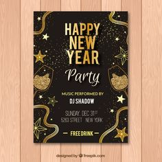 Black and golden flyer for new year party Free Posters, Dj Shadow, Free Brochure, New Years Party, Opus, Happy New Year, Invite, Vector Free, Christmas Cards