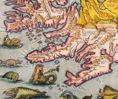"Antique Surreal Map Print ""Monsters of the Deep"" Europe Map Sea Monsters Illustration. $30.00, via Etsy."