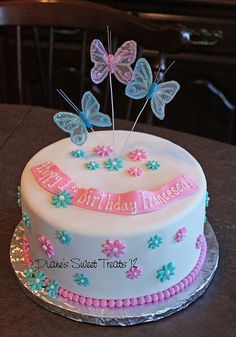 Francescas first birthday cake by Dianes Sweet Treats - (Dia 1st Birthday Cake For Girls, Birthday Cake With Flowers, Baby Birthday Cakes, Butterfly Birthday, Butterfly Cakes, Butterflies, Birthday Cake Decorating, Brownie, Girl Cakes
