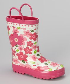 Look at this Laura Ashley Pink Floral Rain Boot on #zulily today!