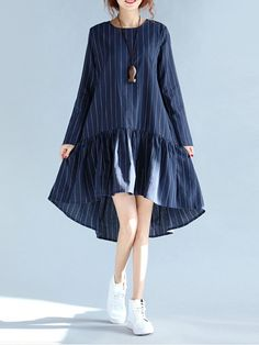 Casual Striped Swing Pleated Flounced Loose Long Sleeve Women Dresses