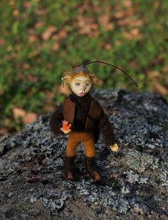 ooak art doll Elf Oscar, troll, fairy, gnome, miniature gnome,miniature elf, elf with tiny red fox by FeltedArtandDolls on Etsy