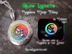 Here are my Rainbow Moon Fairy Glow Lockets ™    1 1/4 inch silver plated Glow Locket ™ on silver plated link chain with rainbow swirl glow. if you