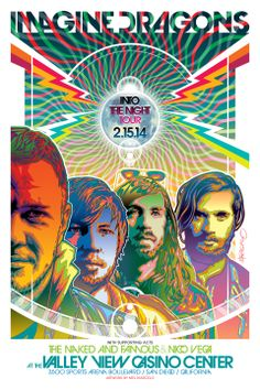 Commemorative poster for tonight's Imagine Dragons Concert! Artwork by Mel…