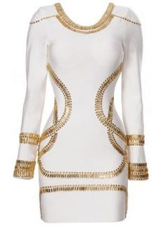 Free Global Shipping by Airmail ---- Size XS, S, M, L Our gorgeously crystal embellished Sass dress is just like the one Kim K & Beyonce wore. Long Sleeve Bandage Dress, White Bandage Dress, White Long Sleeve Dress, White Mini Dress, Bodycon Dress, Bandage Dresses, Dress Long, Dress Black, Beaded Dresses