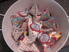 Baby shower favors in sour cream container packets. Cutie Patootie Creations: