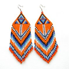 Large orange seed bead earrings beadwork earrings by Anabel27shop