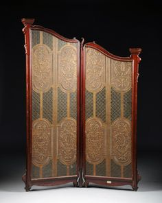 A VICTORIAN CARVED MAHOGANY TWO PANEL FLOOR SCREEN, : Lot 712