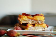 Simple Gingered Peach Bars are the perfect recipe for the case of local peaches we picked up this week.