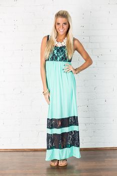 Mint and Lace Maxi Dress - Modern Vintage Boutique