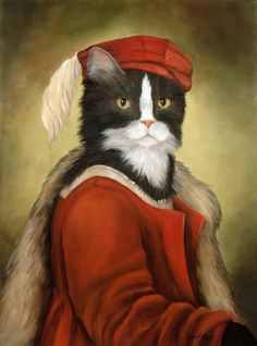 Carol Lew: Old World Pet Portraits: Maurice Purrdeaux Costume Chat, Cat Costumes, Fancy Cats, Cute Cats, Adorable Kittens, Chat Royal, Cat Photography, Cat People, Vintage Cat