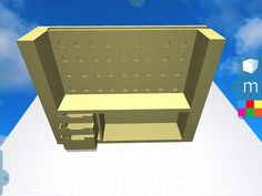Quick Morphi visualization of an artist's desk orig made by our intern Nikita w/cutouts for tools/materials. #3Dmodel