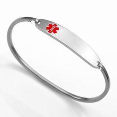 Medical ID Bracelets and jewelry custom engraved for men, women, children - Petite Stainless Medical ID Alert Bracelet
