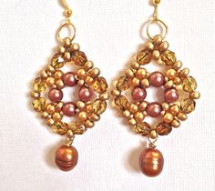 Handmade beaded rearring golden brown pearl drop by fatash1