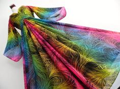 . THE RAINBOW BIRD . S . Stunning Neon Ombre Colorful Feather Print Maxi Dress