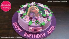 rapunzel tangled themed fondant birthday cake design ideas decorating tutorial c. Easy Kids Birthday Cakes, Simple Birthday Cake Designs, Cake Designs For Girl, Animal Birthday Cakes, Simple Cake Designs, Baby Birthday Cakes, 7th Birthday, Happy Birthday Princess Cake, Rapunzel Birthday Cake