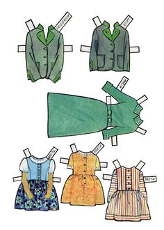 Sound of Music Maria's dress and five of the children's paper dolls clothes