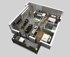 3D Floor Plan by Jeremy Gamelin,  I like how the bedrooms are separated from the living area by a door