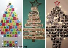 árvores de Natal diferentes feitas com mensagens e fotos presas na parede