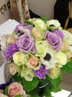 lilac green wedding bouquet by David Ragg