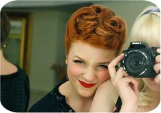 Lots of awesome vintage hairstyle tutorials - this one is red hair loops by Elsa Love this 50's look