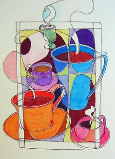 """https://flic.kr/p/2dbxv   Coffee Anyone?   Coffee is the oldest theme I've done with my art, I have a huge series called the """"Joe"""" series, paintings and work in colored pencil as well as a mosaic or two. I used to sell lots of them.  So, when I just go on """"auto draw"""" I frequently do steaming coffee like I've done in the series.  Just in case you wanted to know.  Yesterday I bought some new tools for carving linoleum. I stopped at a woodcrafting shop and learned some stuff..."""