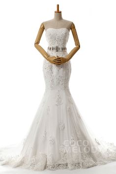 Modest+Trumpet-Mermaid+Sweetheart+Dropped+Train+Tulle+Ivory+Lace+Up-Corset+Wedding+Dress+with+Beading+and+Appliques+h4ms0012