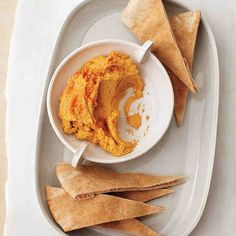Sweet potatoes' orange glow gives away their beta-carotene content. By serving this dip with whole-wheat pita and raw vegetables such as red peppers and broccoli, you also get selenium, vitamin C, and sulforaphane.