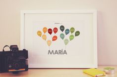 Baby Family Tree with Balloons ~ Personalized family tree for the nursery displaying four generations