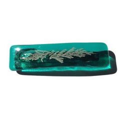 Large Teal Green Fused Glass Hairclip, Large Green barrette with Fossil Glass, hair barrette, hair accessory, coordinating sets, eco gift by thejeremiahtreeglass. Explore more products on http://thejeremiahtreeglass.etsy.com