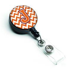 Letter J Chevron Orange and Regalia Retractable Badge Reel CJ1062-JBR
