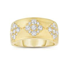 14k gold ring with a charming diamond flower pattern is 3/8 inch wide in the front and 3/16 inch wide in the back. Suitable as a wedding or anniversary band,  this brushed yellow gold ring is full of pizzazz.  Pattern goes half way around with almost a full carat of diamonds. Visit www.badler.com for more gold and diamonds.