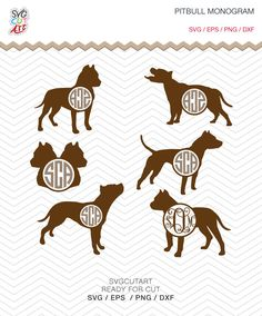 Pitbull Monogram SVG DXF PNG eps decal dog animal pet nature Cut File for Cricut Design, Silhouette studio, Sure A Lot, Makes the Cut by SvgCutArt on Etsy