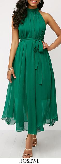 Ruched Detail High Waist Belted Green Dress.#Rosewe#dress#casualstyle#summeroutfit