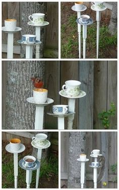 Bird baths using tea cups & saucers and staircase spindles