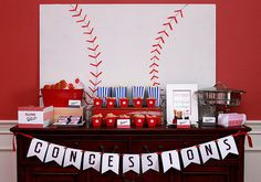 """Deanna Talwalker didn't just pick up some baseball-shaped plates or team banners for her sons sporty 7th birthday. The party planner put on her DIY hat and created a bunch of backdrops and decor that brought the classic theme into the 20th century. """"Even though we live in Kentucky, his favorite team is the Los Angeles Angels,"""" Deanna shares. """"One of our friends, Scott Downs, was a pitcher with the Angels, so my son loves them."""" The baseball party had plenty of tasty baseball-themed treats…"""