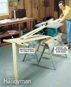 table saw boards outfeed jig