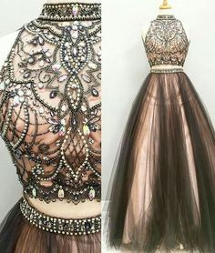 Two pieces prom dresses, A line Beaded prom dress, 2017 Tulle prom dress, Long prom dress Prom Dresses Two Piece, Prom Dresses 2017, A Line Prom Dresses, Tulle Prom Dress, Dress Long, Long Dresses, Dress Formal, Party Dress, Dresses Dresses