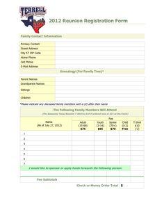 family reunion registration packet | Family Reunion Registration ...