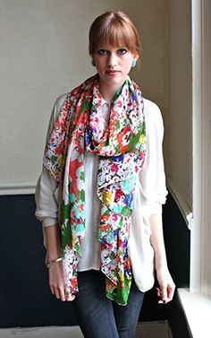 Women Emma Colorful Floral Print Scarf, Soft, Lightweight, Sheer, Oversize, Multicolor at Amazon Women's Clothing store: Fashion Scarves Plaid Fashion, Floral Fashion, Fashion Scarves, Fashion Prints, Women's Fashion, Wrap Dress Floral, Floral Scarf, Floral Chiffon, Cream Wedding Dresses