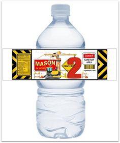 30 CONSTRUCTION - Water Bottle Labels - NOT DIY - Waterproof - Sticky
