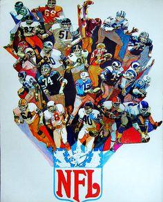 1968 All-Pro Team by George Bartell Nfl Football Players, Football Memorabilia, Flag Football, Sport Football, Football Helmets, Football Posters, Sports Posters, Football Stuff, Sports Logos