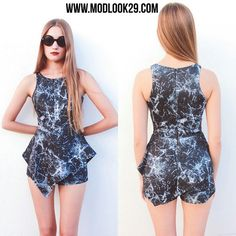 Asymetrical fitted  marble print romper! So cute! Style it with a boot and a wooly hat!