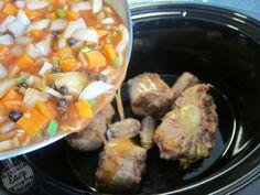 OX TAIL crockpot Caribbean style dinner.  Serve over rice.