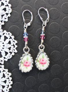 Earrings Broken China Jewelry teardrop Pink by Robinsnestcreation1