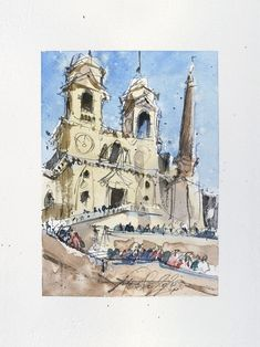 Trinità dei Monti Rome-Ink and Watercolor on paper 2020 | Etsy He's Beautiful, Beautiful Artwork, Cool Artwork, Ink Painting, Watercolor Paintings, Paper Dimensions, Urban Sketching, Watercolor And Ink, Paper Size