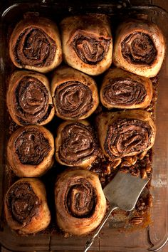 This indulgent recipe (Nutella Buns) is from: This is a Cookbook: Recipes For Real Life (Weldon Owen, by brothers Max and Eli Sussman. A decadent update of the classic cinnamon bun, it adds the chocolate-hazelnut addition of Nutella for a gooey finish. Breakfast And Brunch, Breakfast Photo, Brunch Food, Morning Breakfast, Brunch Recipes, Sweet Recipes, Dessert Recipes, Breakfast Recipes, Breakfast Ideas