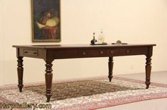 7' Antique 1875 Library Table - Conference Room