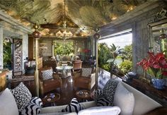 Lounge area in David Bowie's Mustique home